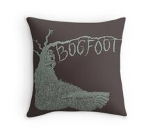 Bogfoot Swamp Thing Woodcut Throw Pillow