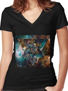 Official Psychedelic Space shirt Women's Fitted V-Neck T-Shirt