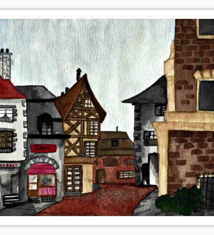 German City ~ Watercolor Painting Sticker