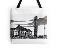 Beach house and Lighthouse Tote Bag