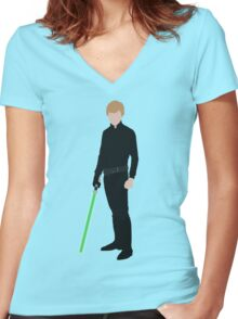 Luke Skywalker 1 Women's Fitted V-Neck T-Shirt