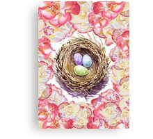 Bird Nest And Roses Canvas Print