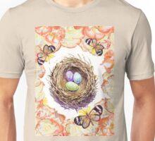 Bird Nest Roses And Butterflies Unisex T-Shirt