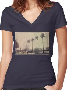 Vintage Summer Women's Fitted V-Neck T-Shirt