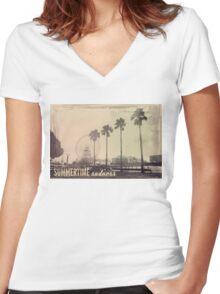 Vintage Summer Women's Fitted V-Neck T-Shirt