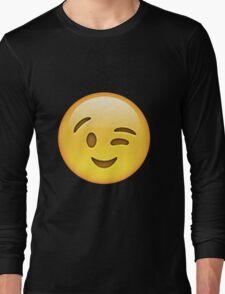 winky emoji face Long Sleeve T-Shirt