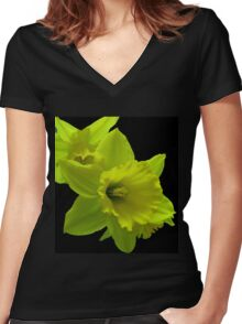 Daffodils Rejoicing Women's Fitted V-Neck T-Shirt