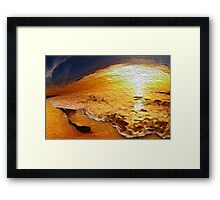Beautiful landscape sea in the sunset - Oil Paint Art Framed Print