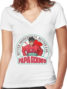 Papa Gendo's Pizza Women's Fitted V-Neck T-Shirt