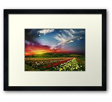 Beautiful landscape scenery rose valley countryside nature horizon the valley roses nature - Oil Paint Art Framed Print