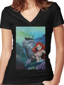The Shipwreck Mermaid Women's Fitted V-Neck T-Shirt