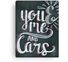 You and me and cars chalk Canvas Print