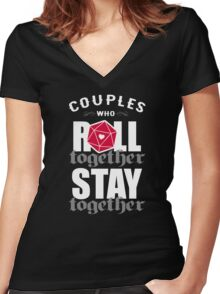 Couples who roll together, stay together D20 Women's Fitted V-Neck T-Shirt