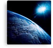 Shining star over Earth. Canvas Print