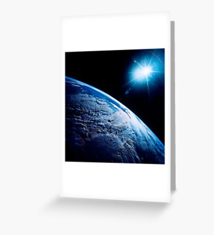 Shining star over Earth. Greeting Card