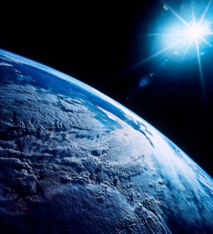 Shining star over Earth. Sticker