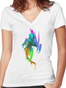 Watercolor Shark Women's Fitted V-Neck T-Shirt