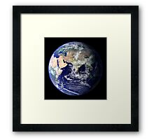 View of the Earth from space showing the eastern hemisphere. Framed Print