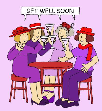 Red Hatter Ladies Get Well Soon Sticker