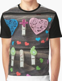 Valentines hearts and numbers on wooden background Graphic T-Shirt