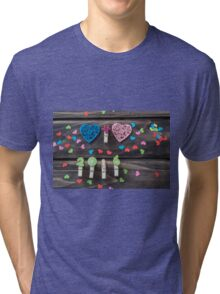 Valentines hearts and numbers on wooden background Tri-blend T-Shirt