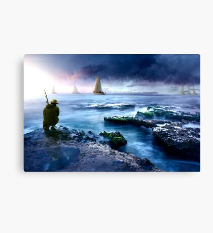 fishing on the reef Canvas Print