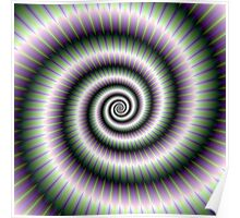 Coiled Spiral in Green and Violet Poster