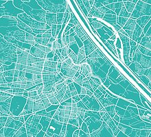 Vienna map turquoise by mapsart