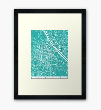 Vienna map turquoise Framed Print