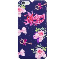 Navy masked ball seamless vector print. Venetian carnival masks, old keys, bows, rose flowers, ribbons. iPhone Case/Skin