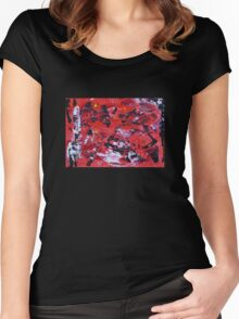 Red on Black - Big Original Wall Modern Abstract Art Painting Women's Fitted Scoop T-Shirt