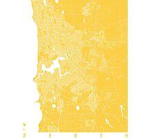 Perth map yellow australia Photographic Print
