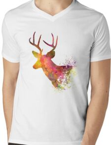 Male Deer 02 in watercolor Mens V-Neck T-Shirt