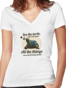 Keen Turtle Women's Fitted V-Neck T-Shirt