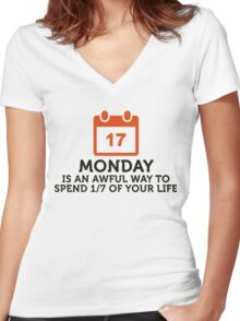 Spend 1/7 of life on Mondays? Shit! Women's Fitted V-Neck T-Shirt