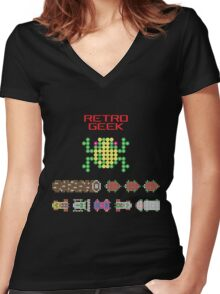 Retro Geek - Frogger Women's Fitted V-Neck T-Shirt
