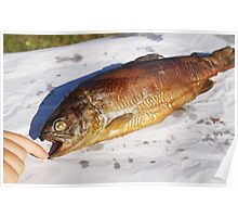 Young boy finger touch Smoked trout (Salmo trutta)  Poster