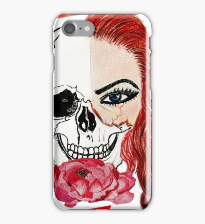 Abstract half skull half face iPhone Case/Skin