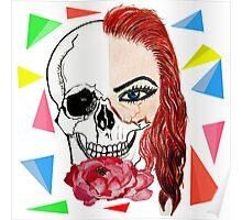 Abstract half skull half face Poster