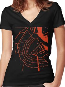 Amsterdam city map engraving Women's Fitted V-Neck T-Shirt