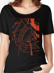 Amsterdam city map engraving Women's Relaxed Fit T-Shirt