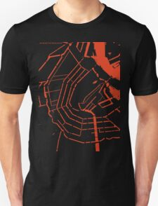 Amsterdam city map engraving Unisex T-Shirt