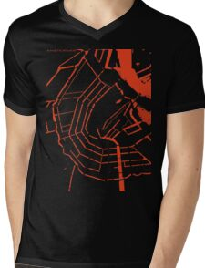 Amsterdam city map engraving Mens V-Neck T-Shirt