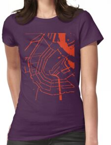 Amsterdam city map engraving Womens Fitted T-Shirt