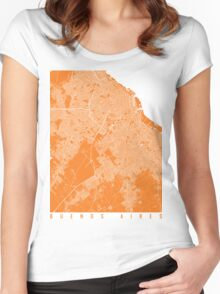 Buenos aires map orange Women's Fitted Scoop T-Shirt
