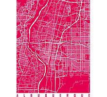 Albuquerque map Raspberry Photographic Print
