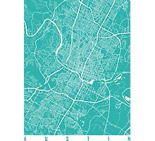 Austin map Texas Turquoise Photographic Print