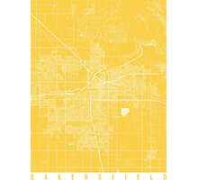 Bakersfield map California Yellow Photographic Print