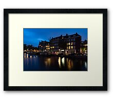 Magical Amsterdam Night - Charming Little Pink Car on the Canal Bank Framed Print