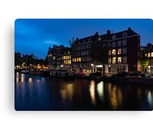 Magical Amsterdam Night - Charming Little Pink Car on the Canal Bank Canvas Print